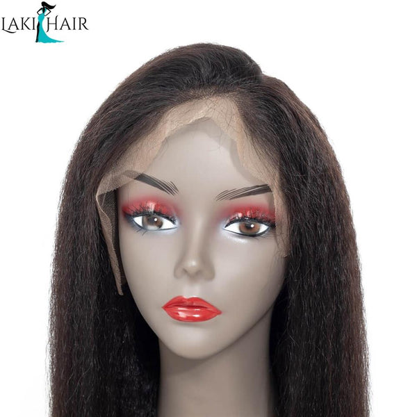 Lakihair Lace Front Wigs 8A Kinky Straight Virgin Human Hair Lace Wigs Pre Plucked