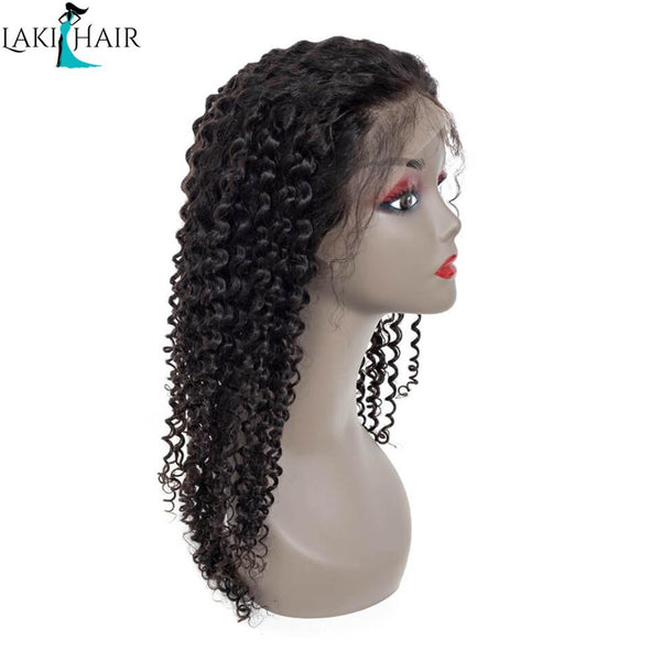 Lakihair 8A Deep Curly Lace Front Wigs For Women Pre Plucked With Baby Hair Natural Black Hairline