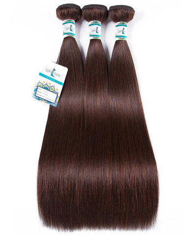 Lakihair 10A Top Quality Brazilian 3 Bundles Color 4  Human Straight Virgin Hair