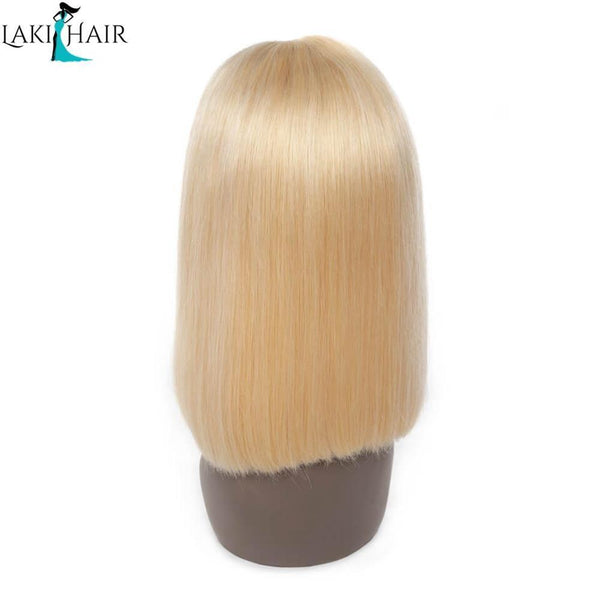 Lakihair 180% Density Human Hair 613 Blonde Lace Frontal Bob Wig 8A Straight Brazilian Human Hair