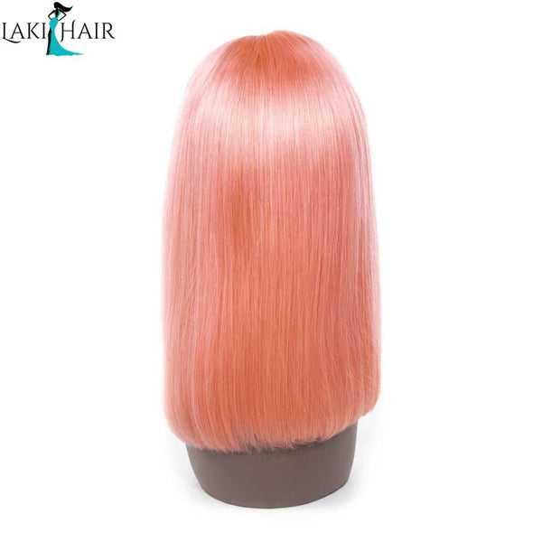 Lakihair Short 8A Pink Blonde Short Bob Straight Lace Wigs Brazilian Virgin Human Hair