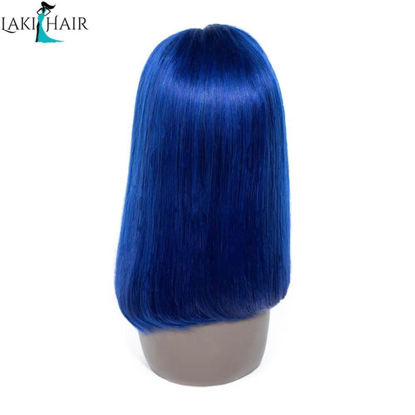 Lakihair Short Bob Straight Lace Wigs Colored Wigs Blue Short 8A Human Hair Wigs