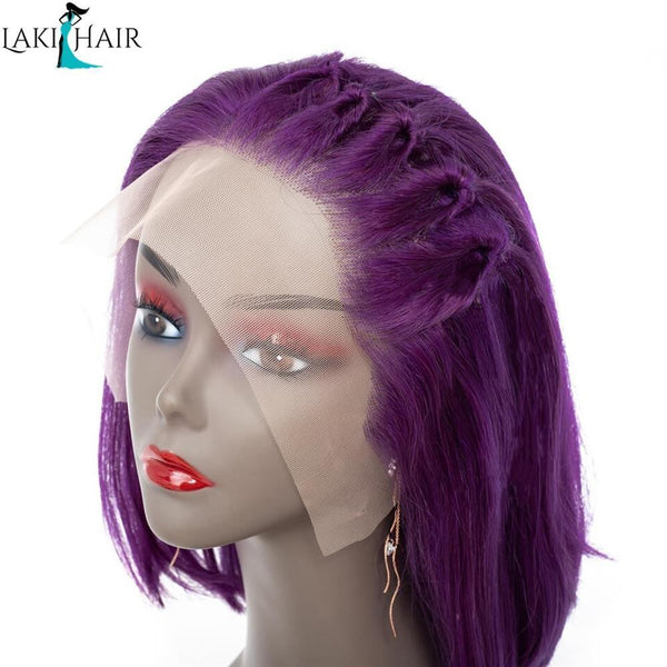 Lakihair Short Bob 8A Straight Lace Wigs Purple Colored Wigs Pre Plucked Hairline