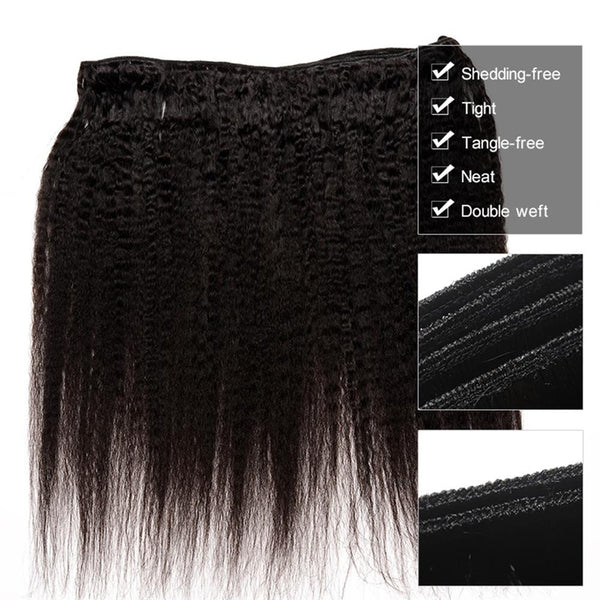 Lakihair 8A Kinky Straight 3 Bundles Brazilian Human Hair Weave Natural Color Full Thick Ends