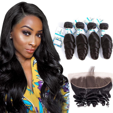 Lakihair 8A Brazilian Virgin Human Loose Wave Hair 4 Bundles With 13x4 Frontal Closure