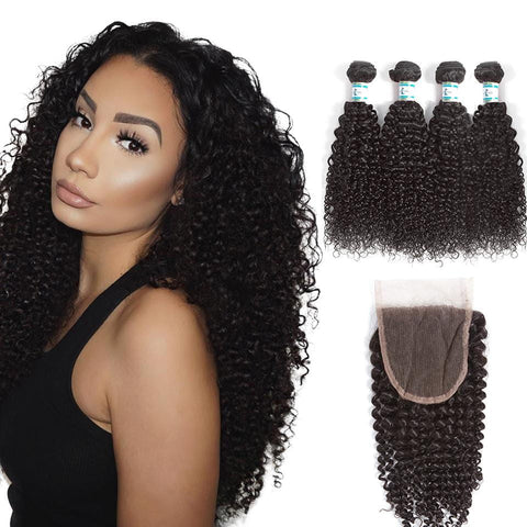 Lakihair 8A Virgin Human Hair Kinky Curly 4 Bundles With Lace Closure 4x4