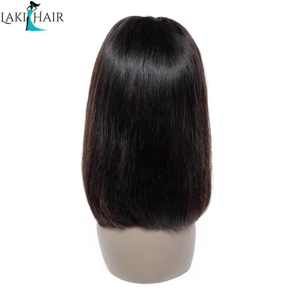 Lakihair 8A 180% Density Brazilian Straight Bob Lace Front Wigs Virgin Human Hair