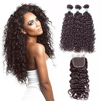 Lakihair 10A Brazilian Real Human Hair Water Wave 3 Bundles With 13x4 Lace Frontal Closure