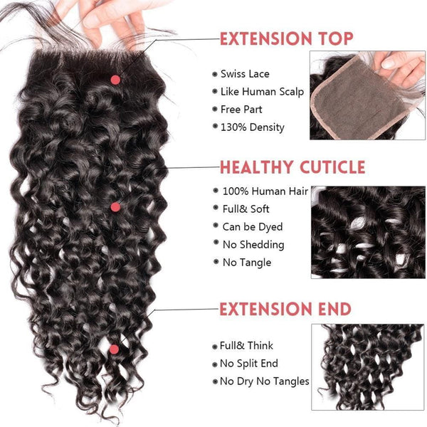 Lakihair 8A Peruvian Human Hair Water Wave 3 Bundles With Lace Closure 4x4