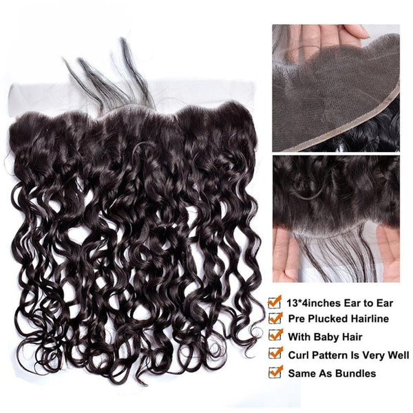 Lakihair 100% Real Indian Human Hair Water Wave 3 Bundles With Lace Frontal Closure