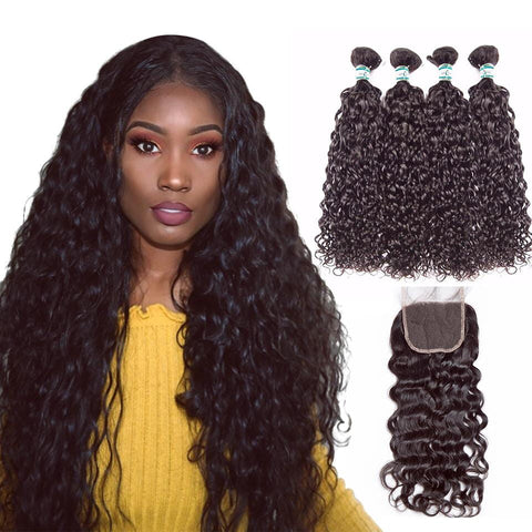 Lakihair 8A Virgin Human Hair Water Wave 4 Bundles With Lace Closure 4x4