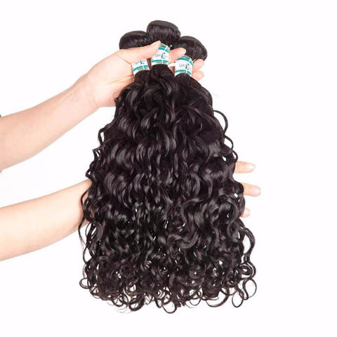 Lakihair 8A Peruvian Virgin Human Hair Water Wave 4 Bundles With Lace Closure 4x4