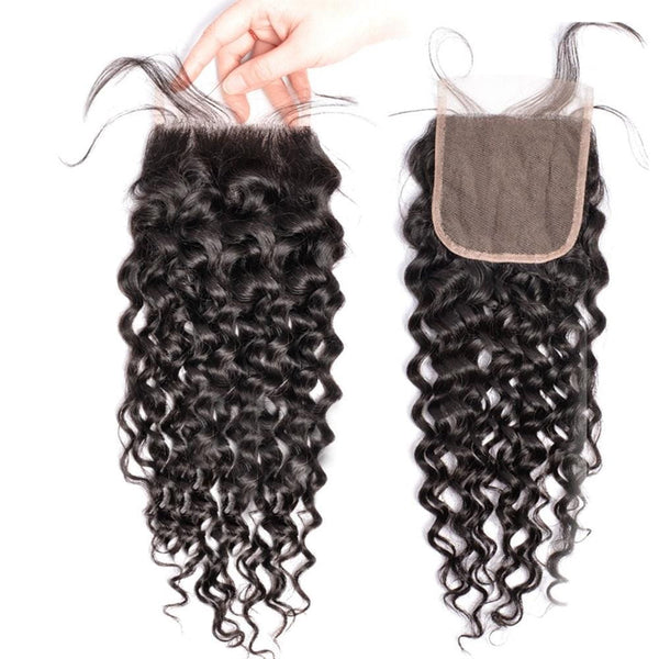 Lakihair Unprocessed Virgin Human Hair Bundles With Lace Frontal Closure Brazilian Water Wave 4 Bundles With Closure