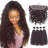 Lakihair 8A Brazilian Virgin Human Water Wave Hair 4 Bundles With 13x4 Frontal Closure