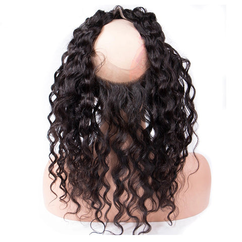 Lakihair 360 Lace Frontal Closure 8A Brazilian Water Wave Pre Plucked With Baby Hair Natural Color