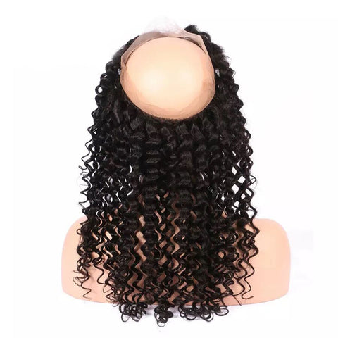 Lakihair 360 Lace Frontal Closure Deep Wave 8A Brazilian Hair Pre Plucked Baby Hair Natural Color
