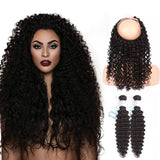 Lakihair 8A Grade Virgin Human Hair Deep Wave 2 Bundles With 360 Lace Frontal