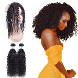 Lakihair 8A Grade Virgin Human Hair Kinky Curly 2 Bundles With 360 Lace Frontal