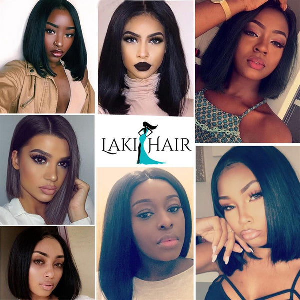 Lakihair Short Virgin 8A Brazilian Straight Hair Lace Front Wigs 150% Density U Part Bob Wigs