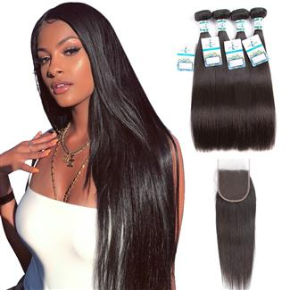Lakihair 10A Brazilian 100% Unprocessed Virgin Human Straight Hair 4 Bundles With Lace Closure 4x4