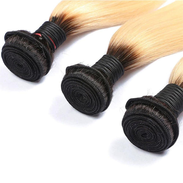 Lakihair 8A 3 Bundles Brazilian Straight 1B/613 Blonde Ombre Virgin Human Hair Bundles