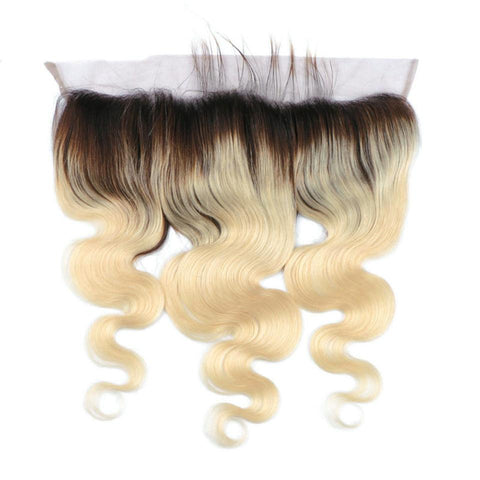 Lakihair 8A 1B/613 Blonde Ombre Body Wave Lace Frontal Closure 13x4 Ear To Ear Lace Frontal