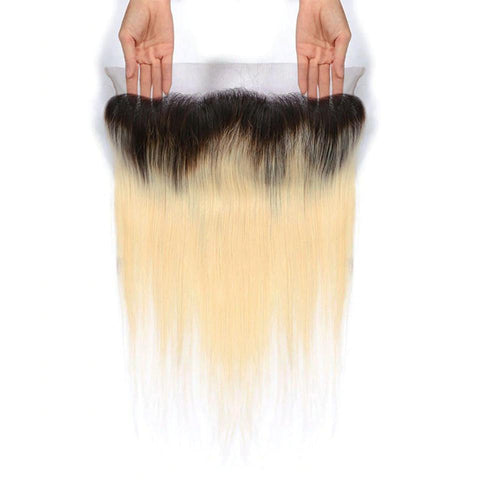 Lakihair 8A 1B/613 Blonde Ombre Lace Frontal 13x4 Ear To Ear Straight Pre Plucked With Baby Hair