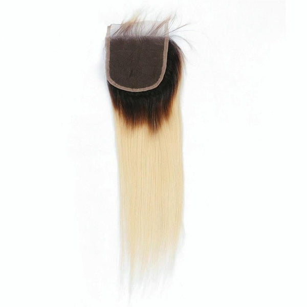 Lakihair 8A 1B/613 Blonde Ombre Color Lace Closure 4x4 Brazilian Human Straight With Baby Hair