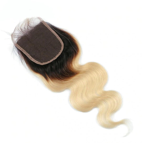 Lakihair 8A 1B/613 Blonde Ombre Body Wave Lace Closure 4x4 Brazilian Human Hair With Baby Hair