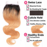 Lakihair 8A Blonde Ombre 1B 27 Body Wave Lace Closure 4x4 Brazilian Virgin Human Hair Pre Plucked