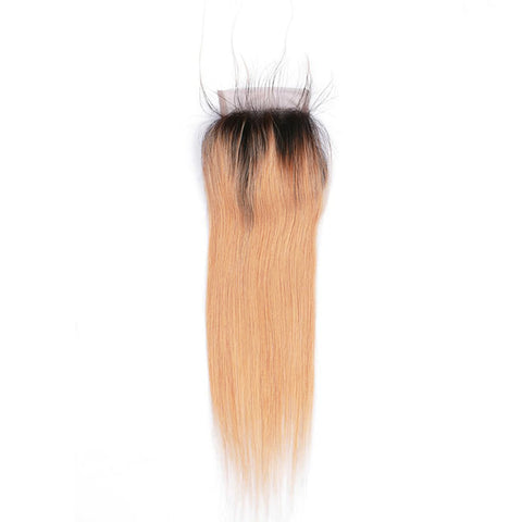 Lakihair 8A Blonde Ombre 1B/27 Lace Closure 4x4 Virgin Human Hair Straight Closure Pre Plucked