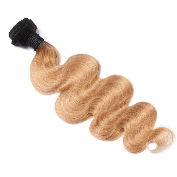 Lakihair 8A 1B/27 Blonde Ombre 1 Bundle Brazilian Body Wave Virgin Human Hair Weaving