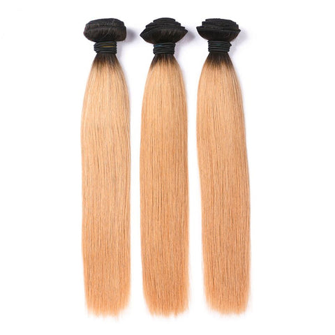 Lakihair 8A Blonde Ombre Hair Bundles 1B/27 3 Bundles Brazilian Virgin Human Straight Hair