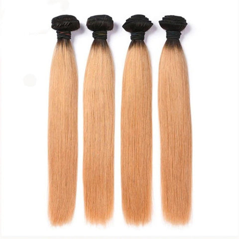 Lakihair 8A 4 Bundles Straight Hair 1B/27 Blonde Ombre Virgin Brazilian Human Hair Extensions