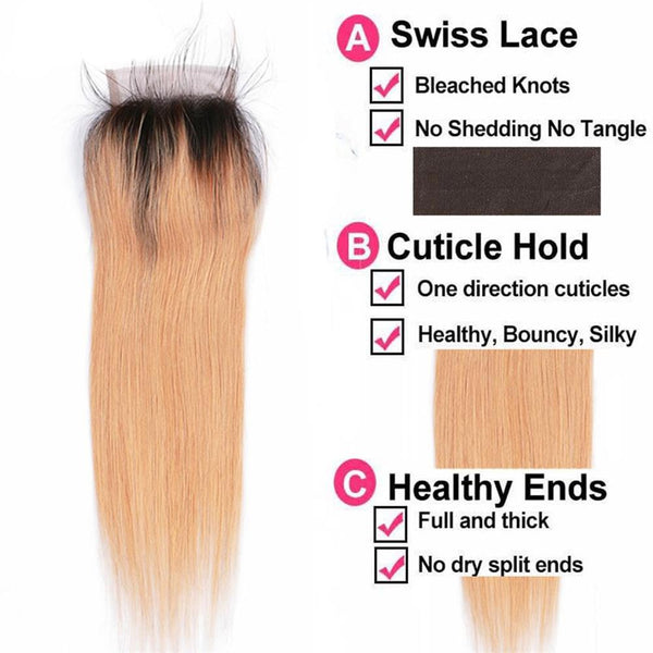 Lakihair 3 Bundles With Lace Closure Straight 1B 27 Ombre Hair Brazilian Virgin Human Hair