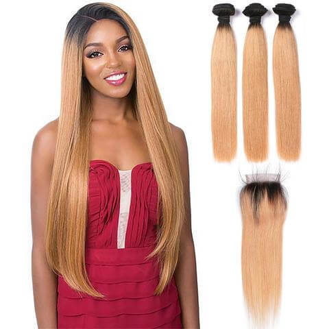 Lakihair 3 Bundles With 4x4 Lace Closure Straight 1B 27 Ombre Hair Brazilian Virgin Human Hair