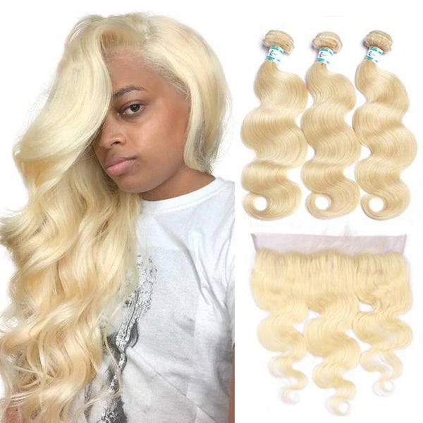 Lakihair 10A 613 Blonde Brazilian 13x4 Lace Frontal With 3 Bundles Body Wave Human Hair Weave