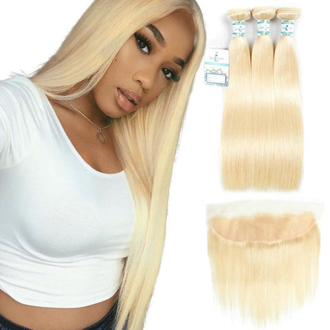Lakihair 10A Top Quality 613 Blonde Hair Straight 3 Bundles With 13x4 Lace Frontal Brazilian Hair