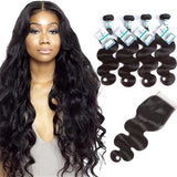Lakihair 10A Brazilian Body Wave 100% Unprocessed Virgin Human Hair 4 Bundles With Lace Closure 4x4