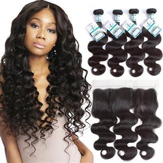 Lakihair 10A Brazilian Virgin Human Hair Body Wave 4 Bundles With Lace Frontal 13x4