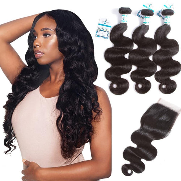 Lakihair 10A 3 Bundles Body Wave Weave With 4x4 Lace Closure Grade Brazilian Virgin Hair