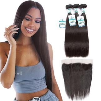 Lakihair 10A Brazilian Virgin Human Hair Straight Hair 3 Bundles With 13x4 Lace Frontal Pre Plucked