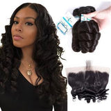 Lakihair 10A Brazilian Loose Wave 3 Bundles With Lace Frontal Closure Pre Plucked 13x4 Ear To Ear