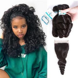 Lakihair 8A Brazilian Loose Wave 3 Bundles With Lace Closure 4x4 Unprocessed Hair