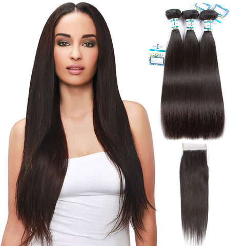 Lakihair 10A Brazilian Straight Hair 3 Bundles With 4x4 Lace Closure Soft Unprocessed Virgin Human Hair