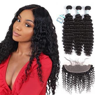 Lakihair Brazilian Deep Wave Human Hair 3 Bundles With Lace Frontal Closure 13x4