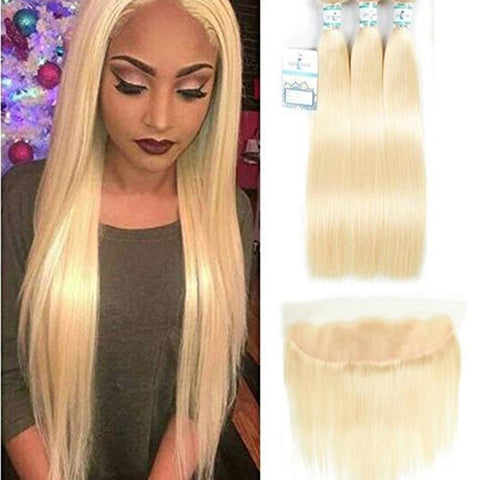 Lakihair 8A 613 Blonde Hair Virgin Brazilian Straight Hair 3 Bundles With 13X4 Frontal