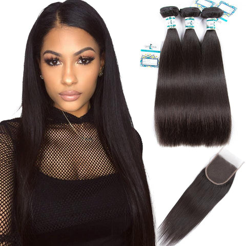 Lakihair 8A Malaysian Human Hair Straight Hair 3 Bundles With 4x4 Lace Closure