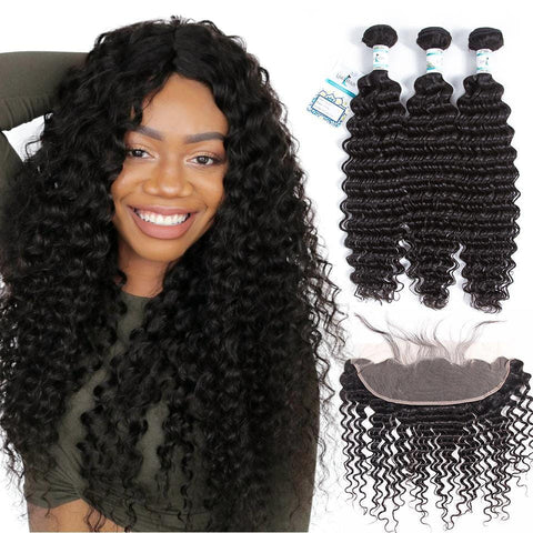 Lakihair Deep Wave 3 Bundles With Frontal Virgin Hair 3 Bundles With 13x4 Frontal