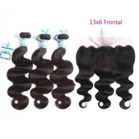 Lakihair 8A Brazilian Body Wave Virgin Hair 3 Pieces With Lace Frontal Closure Pre Plucked 13x6